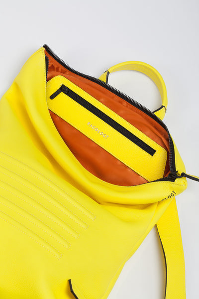 Yellow unisex natural leather backpack | Bagology London - Kristina Goes West  - 3