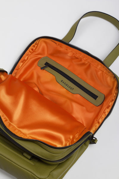 Power olive two-in-one unisex leather bag | Bagology London - Kristina Goes West  - 4