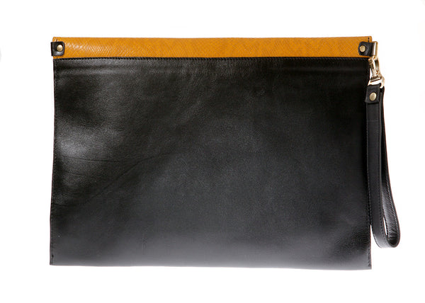 Black and yellow leather envelope clutch | KRISTINAGOESWEST.COM  - 3