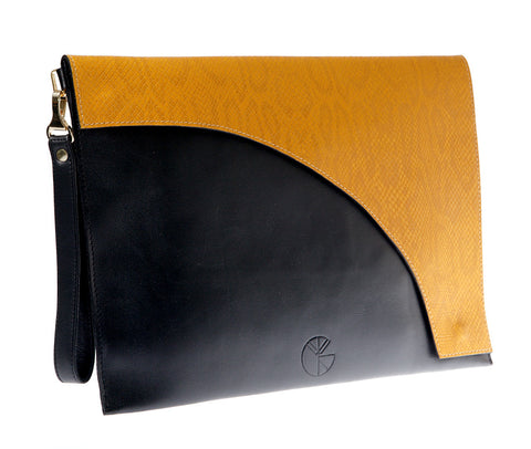 KGW Private Label | Black and Yellow Leather Envelope Clutch - Kristina Goes West  - 1