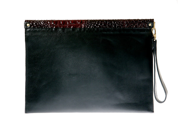 KGW Private Label | Black and Red Leather Envelope Clutch - Kristina Goes West  - 2