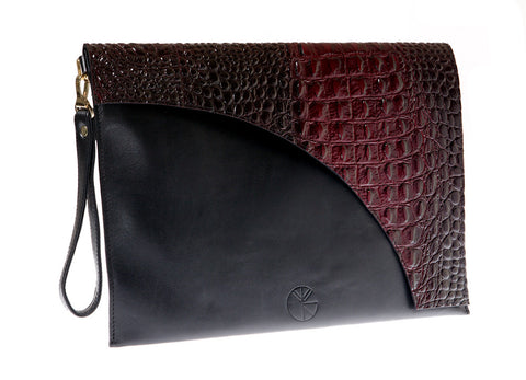 KGW Private Label | Black and Red Leather Envelope Clutch - Kristina Goes West  - 1