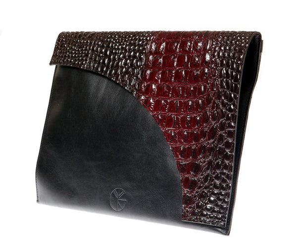 KGW Private Label | Black and Red Leather Envelope Clutch - Kristina Goes West  - 3