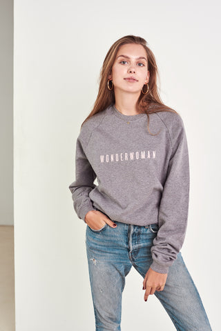 Limited edition organic cotton designer jumper wonderwoman in grey by Babe Universe | KRISTINAGOESWEST.COM – 1