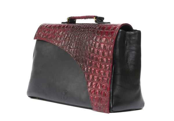 Red and black natural leather tote | KRISTINAGOESWEST.COM - 2