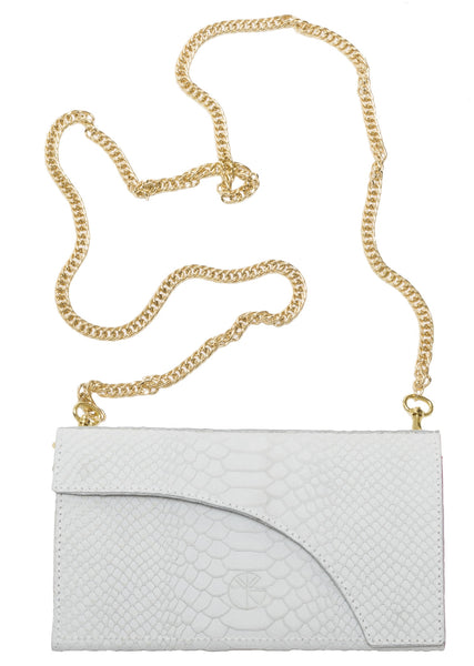 White python effect natural leather wallet and chain shoulder bag | KRISTINAGOESWEST.COM  - 1