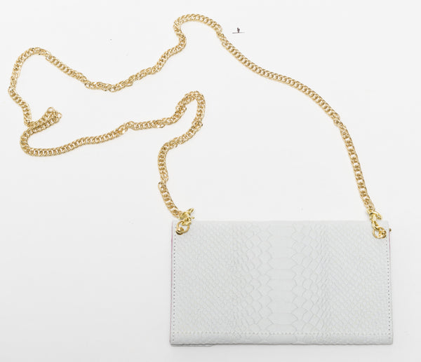 White python effect natural leather wallet and chain shoulder bag | KRISTINAGOESWEST.COM  - 2