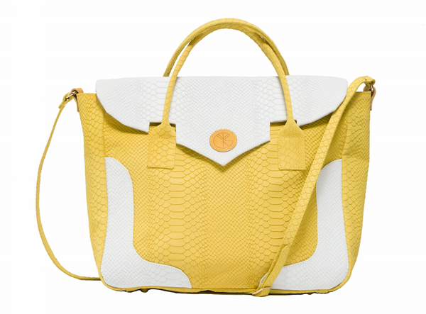 Yellow and white python effect natural leather tote | KRISTINAGOESWEST.COM - 1