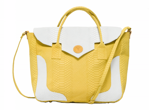 KGW Private Label | Yellow and White 'Dragon I' Tote - Kristina Goes West  - 1