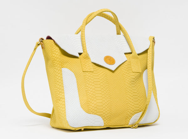 Yellow and white python effect natural leather tote | KRISTINAGOESWEST.COM - 2