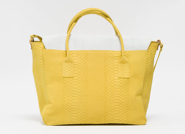 Yellow and white python effect natural leather tote | KRISTINAGOESWEST.COM - 3