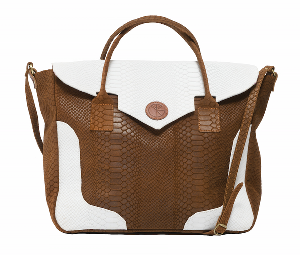 KGW Private Label | Brown and White 'Dragon I' Tote - Kristina Goes West  - 1