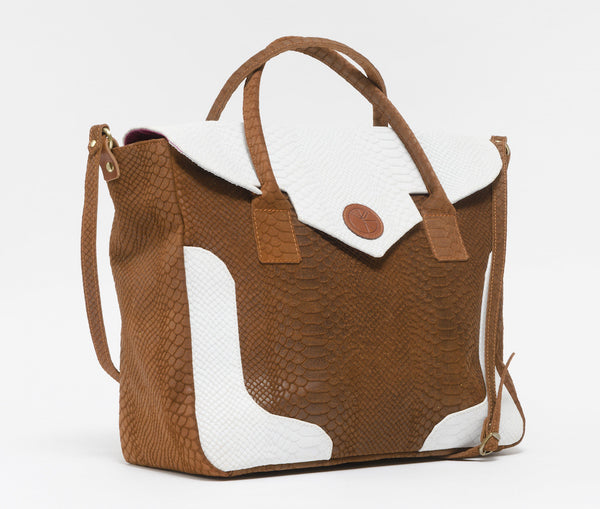 KGW Private Label | Brown and White 'Dragon I' Tote - Kristina Goes West  - 2