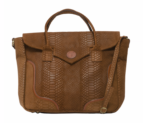 Tanned brown python effect natural leather handbag | KRISTINAGOESWEST.COM - 1