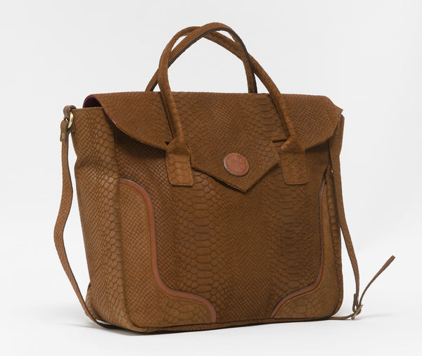 Tanned brown python effect natural leather handbag | KRISTINAGOESWEST.COM - 2