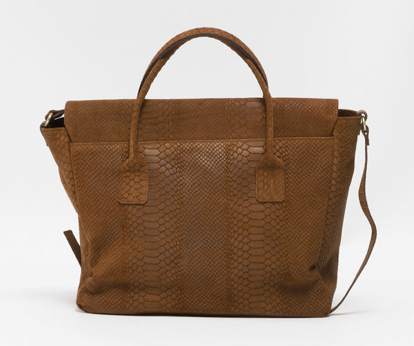 Tanned brown python effect natural leather handbag | KRISTINAGOESWEST.COM - 3