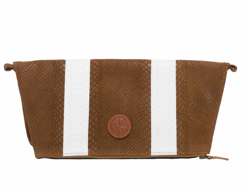 KGW Private Label | Brown and White 'Dragon II' Clutch - Kristina Goes West  - 1