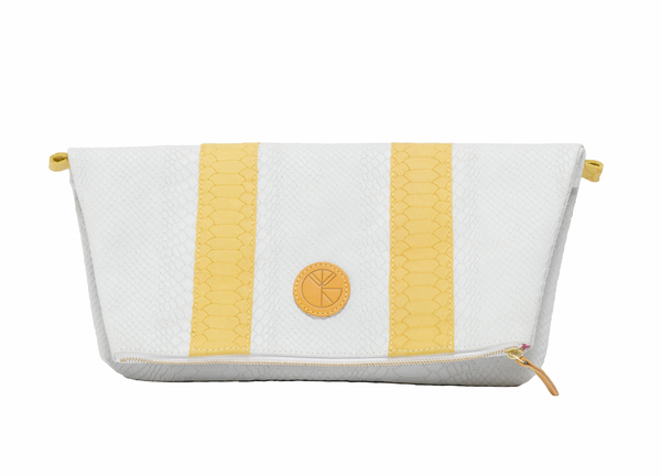 White and yellow python effect natural leather clutch | KRISTINAGOESWEST.COM  - 1