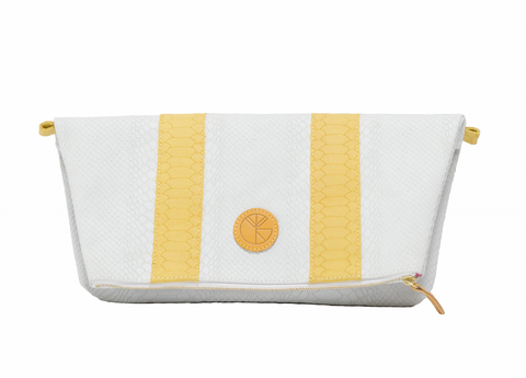 KGW Private Label | White and Yellow 'Dragon II' Clutch - Kristina Goes West  - 1