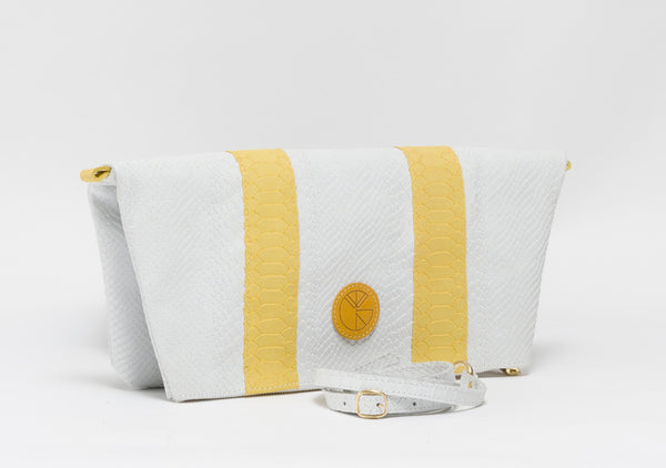 White and yellow python effect natural leather clutch | KRISTINAGOESWEST.COM  - 2