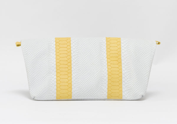 White and yellow python effect natural leather clutch | KRISTINAGOESWEST.COM  - 3