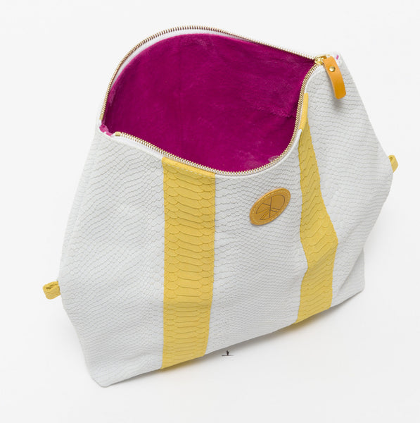 KGW Private Label | White and Yellow 'Dragon II' Clutch - Kristina Goes West  - 4