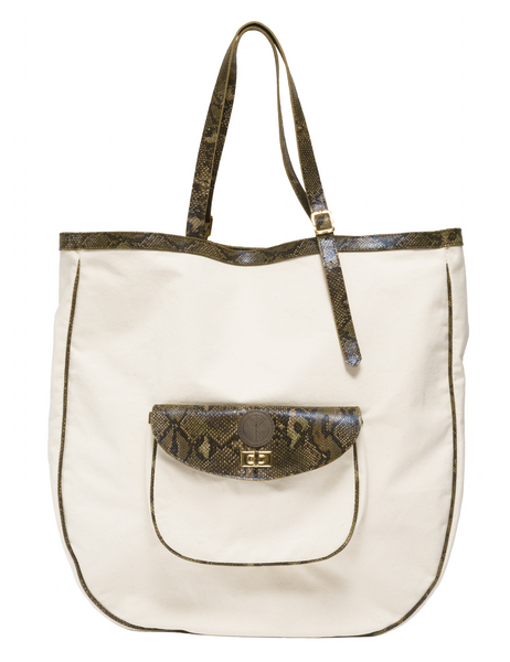 Large canvas and natural leather carrier and beach bag | KRISTINAGOESWEST.COM  - 1