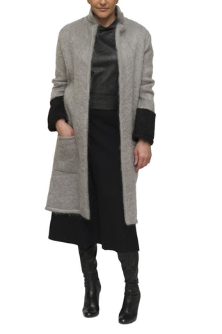 Grey and black mohair cardigan and coat | KRISTINAGOESWEST.COM - 1