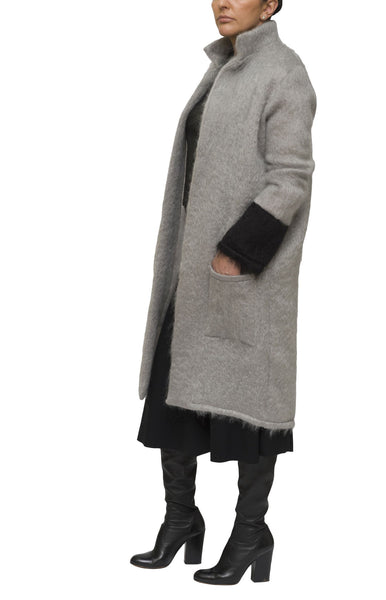 Grey and black mohair cardigan and coat | KRISTINAGOESWEST.COM - 2