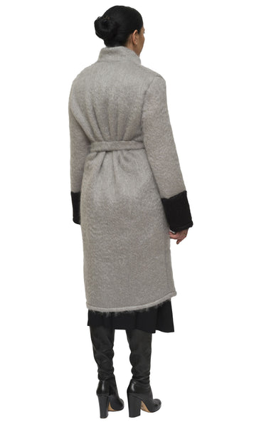 Grey and black mohair cardigan and coat | KRISTINAGOESWEST.COM - 3