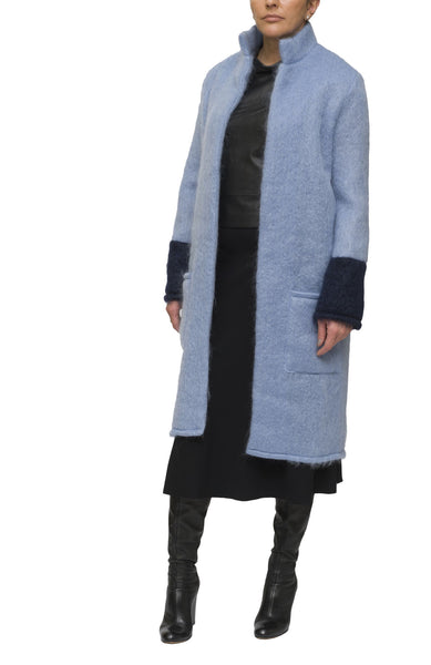 Light blue and indigo mohair cardigan and coat | KRISTINAGOESWEST.COM  - 2