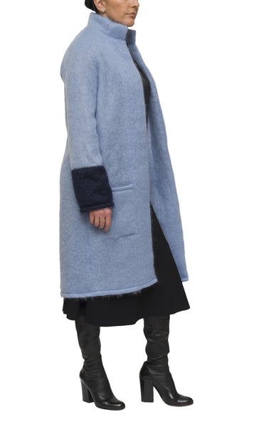 Light blue and indigo mohair cardigan and coat | KRISTINAGOESWEST.COM  - 1