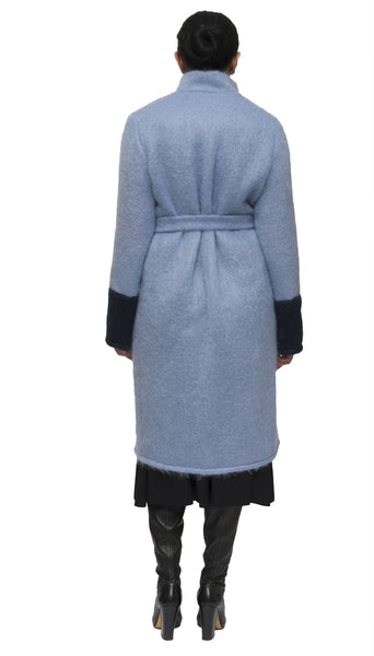 Light blue and indigo mohair cardigan and coat | KRISTINAGOESWEST.COM  - 4