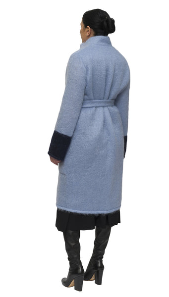 Light blue and indigo mohair cardigan and coat | KRISTINAGOESWEST.COM  - 3