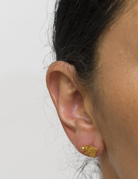KGW by S.B. | Gold plated silver earrings with a golden drop - Kristina Goes West  - 3