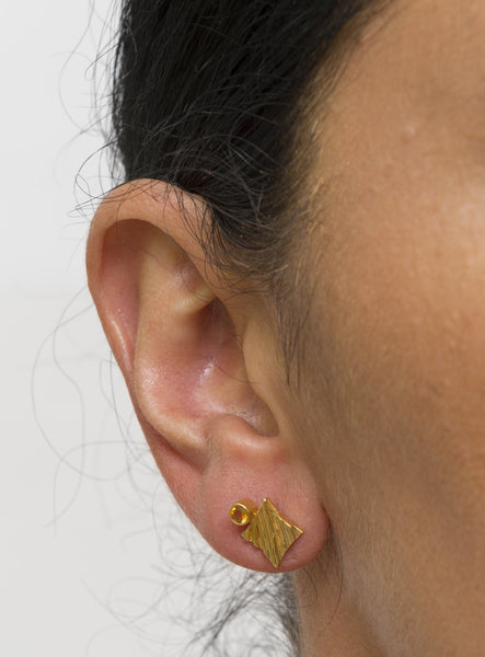 KGW by S.B. | Gold plated silver earrings with Citrine - Kristina Goes West  - 3