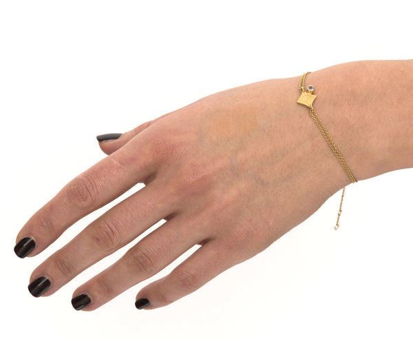 KGW by S.B. | Double chain 24k gold plated silver bracelet with Citrine - Kristina Goes West  - 4
