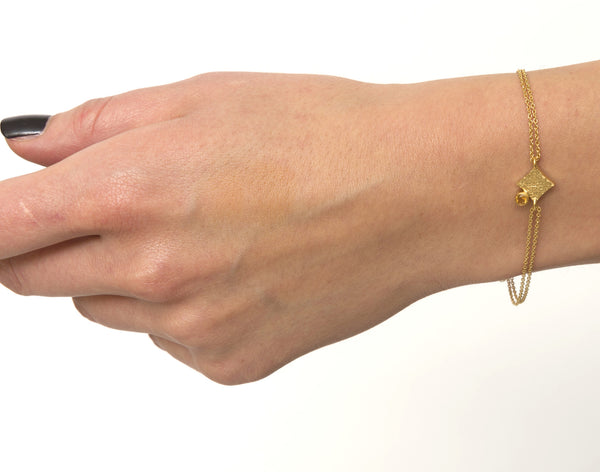 KGW by S.B. | Double chain 24k gold plated silver bracelet with Citrine - Kristina Goes West  - 3