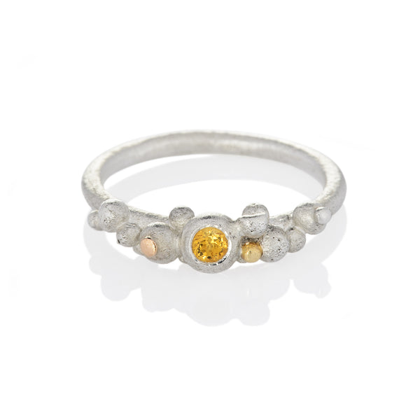 DD Workshop | Brushed silver and gold ring Bloom with Citrine stone - Kristina Goes West