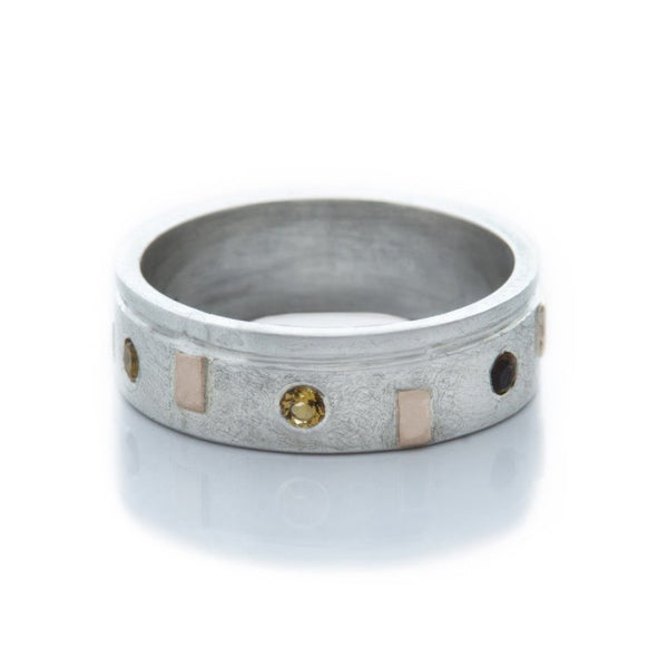 DD Workshop | Brushed silver and gold ring Precious with Citrine stones - Kristina Goes West