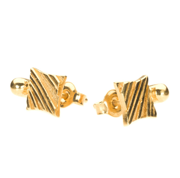 KGW by S.B. | Gold plated silver earrings with a golden drop - Kristina Goes West  - 2