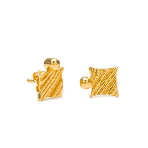 KGW by S.B. | Gold plated silver earrings with a golden drop - Kristina Goes West  - 1