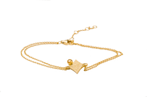 KGW by S.B. | Double chain 24k gold plated silver bracelet with Citrine - Kristina Goes West  - 1