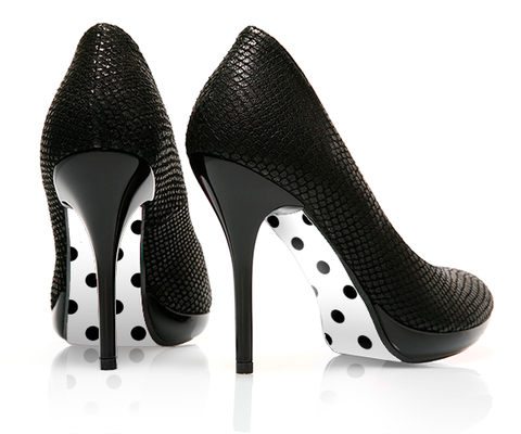 Dot to Dot Black - decorative shoe decal - newheeltips.com