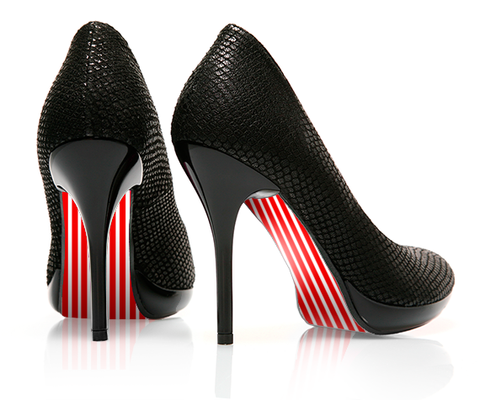 Straight up Stripes - Red - decorative shoe decal - newheeltips.com