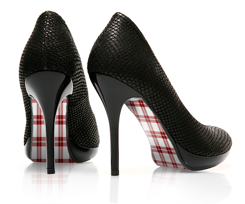 Pretty in Plaid - Windowpane - decorative shoe decal - newheeltips.com
