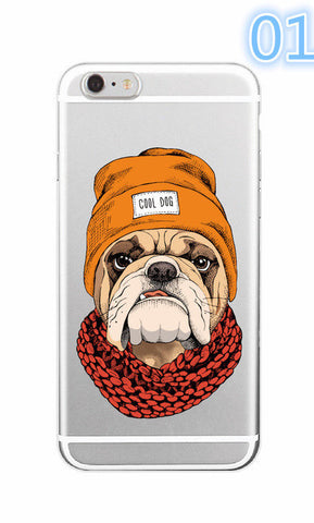 2017 Cute Puppy Pug Bunny Cat Princess Meow French Bulldog Soft Phone Case Cover Coque Funda For iPhone 7 7Plus 6 6S 6Plus -0329