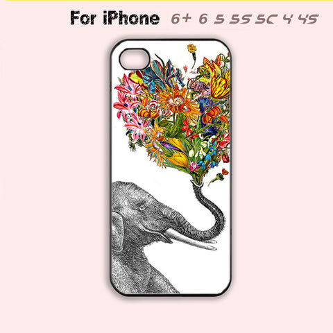Elephant Flower Phone Case For iPhone 6 Plus For iPhone 6 For iPhone 5/5S For iPhone 4/4S For iPhone 5C-5 Colors Available