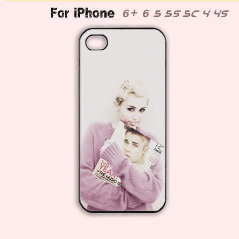 Justin Bieber and Miley Cyrus Phone Case For iPhone 6 Plus For iPhone 6 For iPhone 5/5S For iPhone 4/4S For iPhone 5C-5 Colors Available