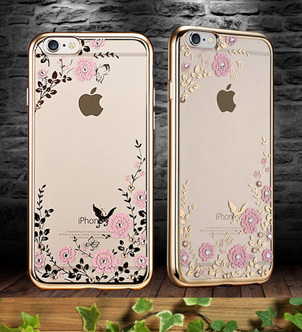 The secret garden electroplating diamond soft mobile phone case for iphone 5 5s SE 6 6s 6plus 6s plus + Nice gift box!